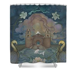 Mission Santa Barbara Shower Curtain by Andrew Batcheller