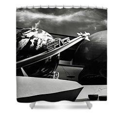 Shower Curtain featuring the photograph Mission Space Black And White by Eduard Moldoveanu