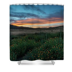 Mission Trails Poppy Sunset Shower Curtain
