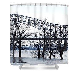 Mississippi River At Memphis January High Water Shower Curtain by Lizi Beard-Ward