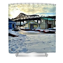 Mississippi River Boathouses Shower Curtain