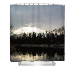 Shower Curtain featuring the photograph Mississippi River Dawn Clouds by Kent Lorentzen
