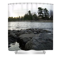 Shower Curtain featuring the photograph Mississippi River Dawn Over The Rocks by Kent Lorentzen