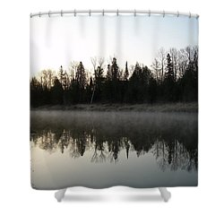Shower Curtain featuring the photograph Mississippi River Fog Reflection by Kent Lorentzen