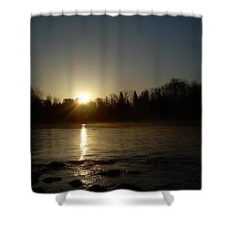 Shower Curtain featuring the photograph Mississippi River Golden Sunrise by Kent Lorentzen