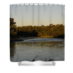 Mississippi River Morning Glow Shower Curtain