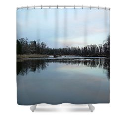 Shower Curtain featuring the photograph Mississippi River Morning Reflection by Kent Lorentzen