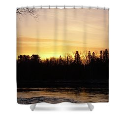 Shower Curtain featuring the photograph Mississippi River Orange Sky by Kent Lorentzen