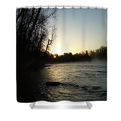 Shower Curtain featuring the photograph Mississippi River Sunrise Shadow by Kent Lorentzen