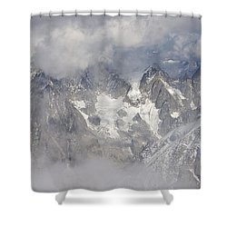 Mist And Clouds At Auiguille Du Midi Shower Curtain