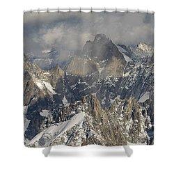 Mist And Light At Aiguille Du Midi Shower Curtain