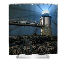 Mist At Marshall Point Light Shower Curtain