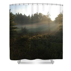 Shower Curtain featuring the photograph Mist In The Meadow by Pat Purdy
