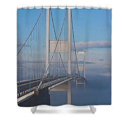 Mist Over The Severn Shower Curtain by Brian Roscorla