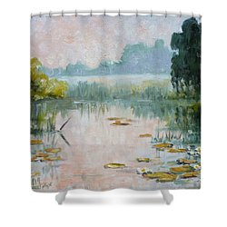 Mist Over Water Lilies Pond Shower Curtain by Irek Szelag