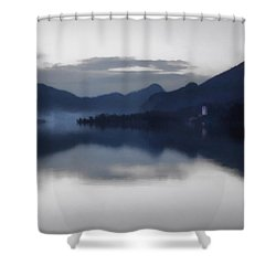 Mist Rising On The Wolfgangsee At Dusk Shower Curtain