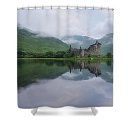 Mist Swarms Around Kilchurn Castle Shower Curtain