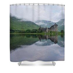 Mist Swarms Around Kilchurn Castle Shower Curtain