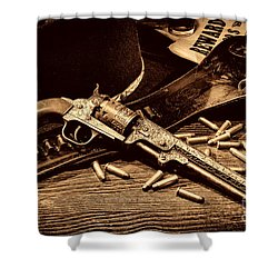 Mister Durant's Revolver Shower Curtain by American West Legend By Olivier Le Queinec