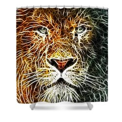 Shower Curtain featuring the mixed media Mistical Lion by Paul Van Scott