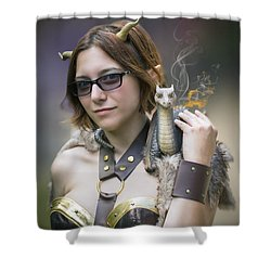 Mistress Of Dragons Shower Curtain by Brian Wallace