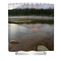 Misty Alpenglow Shower Curtain by Mike  Dawson