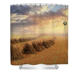 Shower Curtain featuring the photograph Misty Amish Sunrise by Lori Deiter
