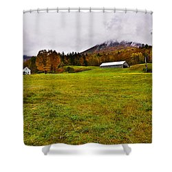 Misty Autumn At The Farm Shower Curtain