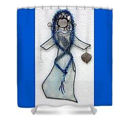 Mystic Blue Shower Curtain by Maxine Grossman