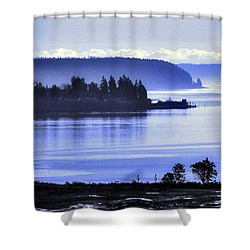 Shower Curtain featuring the photograph Misty Blue Steilacoom by Chris Anderson