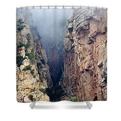 Shower Curtain featuring the photograph Misty Canyons by Phyllis Denton