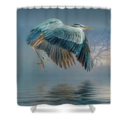 Misty Dawn Heron Shower Curtain