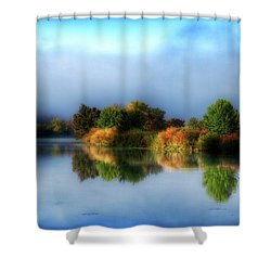 Misty Fall Colors On The River Shower Curtain