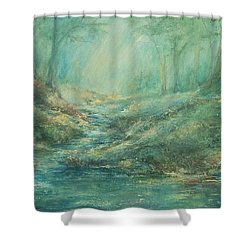 The Misty Forest Stream Shower Curtain by Mary Wolf