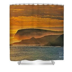 Misty Island Sunset Shower Curtain