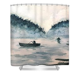 Shower Curtain featuring the painting Misty Lake by Lucia Grilletto