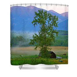 Misty Montana Evening Shower Curtain