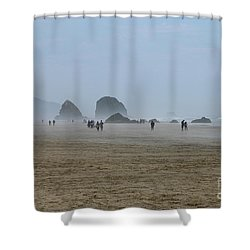 Misty Morning At Cannon Beach Shower Curtain by Christiane Schulze Art And Photography