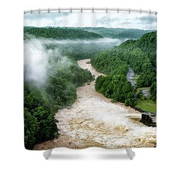 Misty Morning At Summersville Lake Dam Shower Curtain