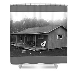 Misty Morning At The Cabin Shower Curtain
