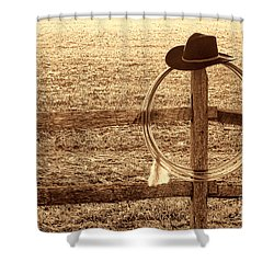 Misty Morning At The Ranch Shower Curtain by American West Legend By Olivier Le Queinec