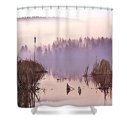 Misty Morning At Vaseux Lake Shower Curtain