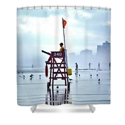 Misty Morning Crowd Shower Curtain