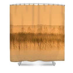 Misty Morning Floating Bog Island On Boy Lake Shower Curtain