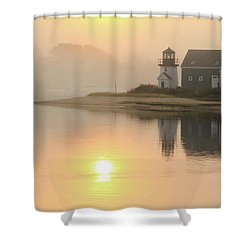 Misty Morning Hyannis Harbor Lighthouse Shower Curtain