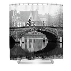 Shower Curtain featuring the photograph Misty Morning In Bruges  by Barry O Carroll