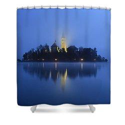 Misty Morning Lake Bled Slovenia Shower Curtain