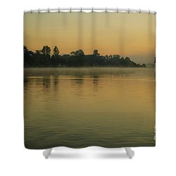 Misty Morning Lake Shower Curtain