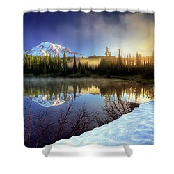 Misty Morning Lake Shower Curtain by William Lee