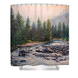 Misty Morning On East Rosebud River Shower Curtain